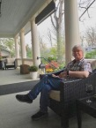 Reading on the porch